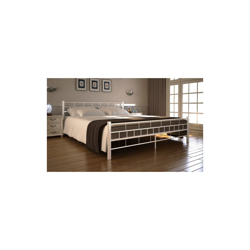 lit en m tal design 140 x 200 cm cr me avec matelas pour lits avec. Black Bedroom Furniture Sets. Home Design Ideas