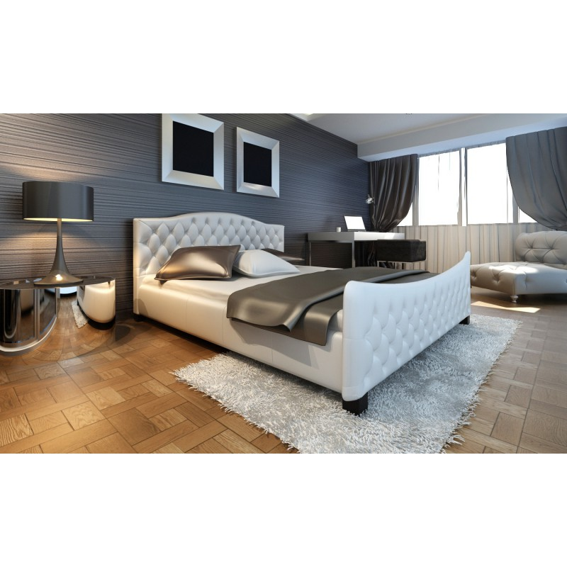 lit adulte 180x200 cm blanc capitonn pour lits a 442 88. Black Bedroom Furniture Sets. Home Design Ideas