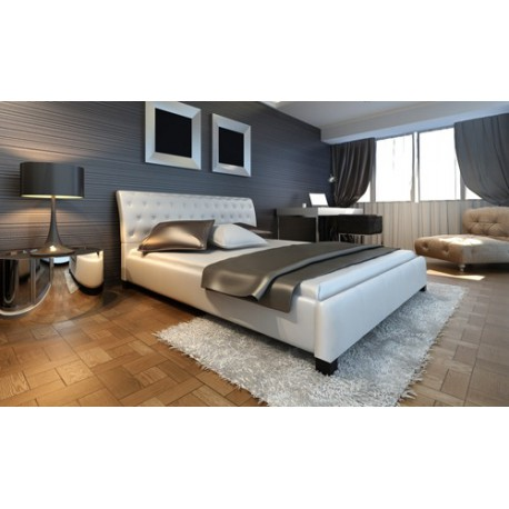 lit blanc design capitonn 180x200 cm pour lits a 416 25. Black Bedroom Furniture Sets. Home Design Ideas