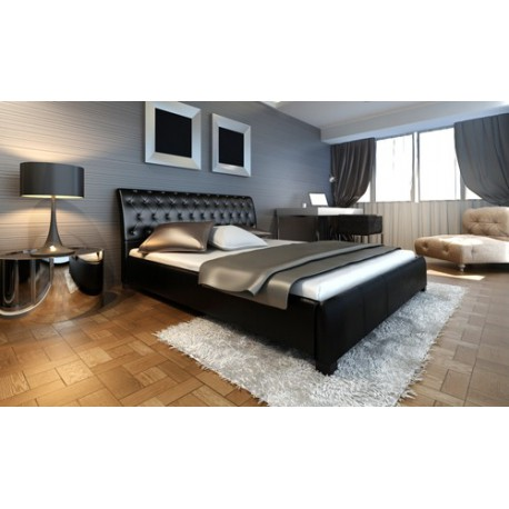 lit design noir capitonn 140 x 200 cm pour lits a 380 75. Black Bedroom Furniture Sets. Home Design Ideas