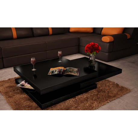 table basse de salon carr e en mdf noir laqu pivotante pour tables. Black Bedroom Furniture Sets. Home Design Ideas