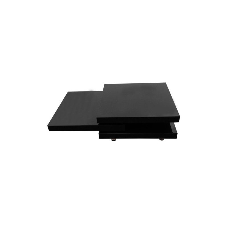 Table basse de salon carr e en mdf noir laqu pivotante - Table basse pratique ...
