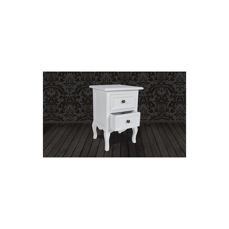 table de chevet bois 2 tiroirs blanche pour commodes armoires a 1. Black Bedroom Furniture Sets. Home Design Ideas