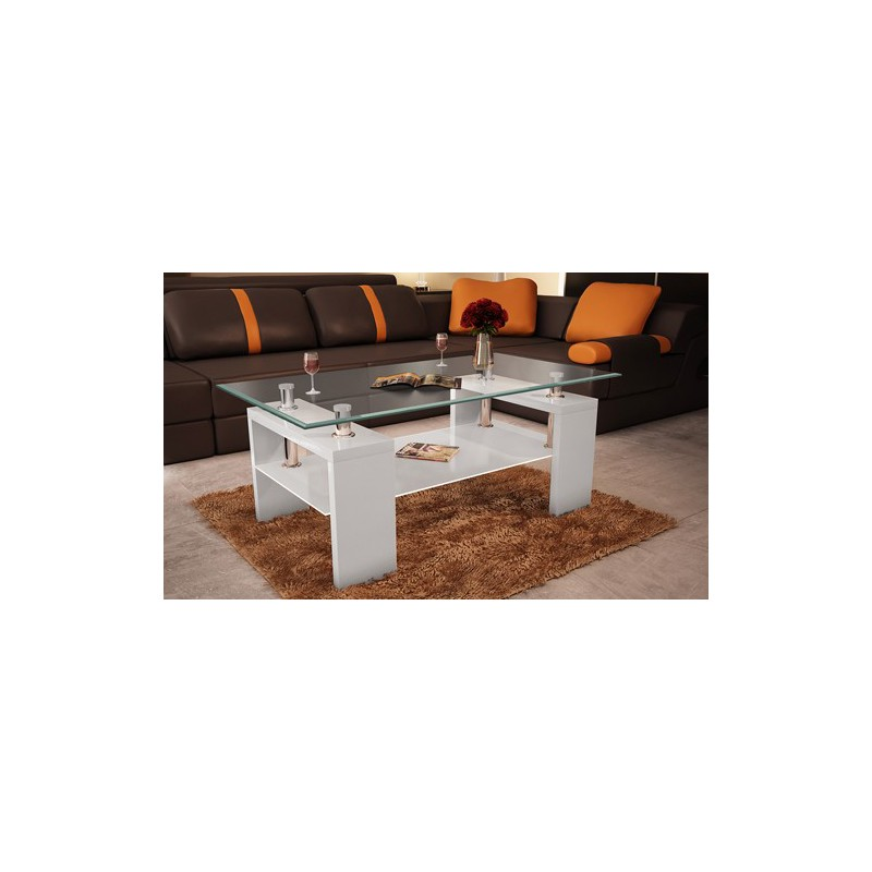 Table basse rectangulaire blanche pour tables basses a 106 50 - Table basse blanche but ...