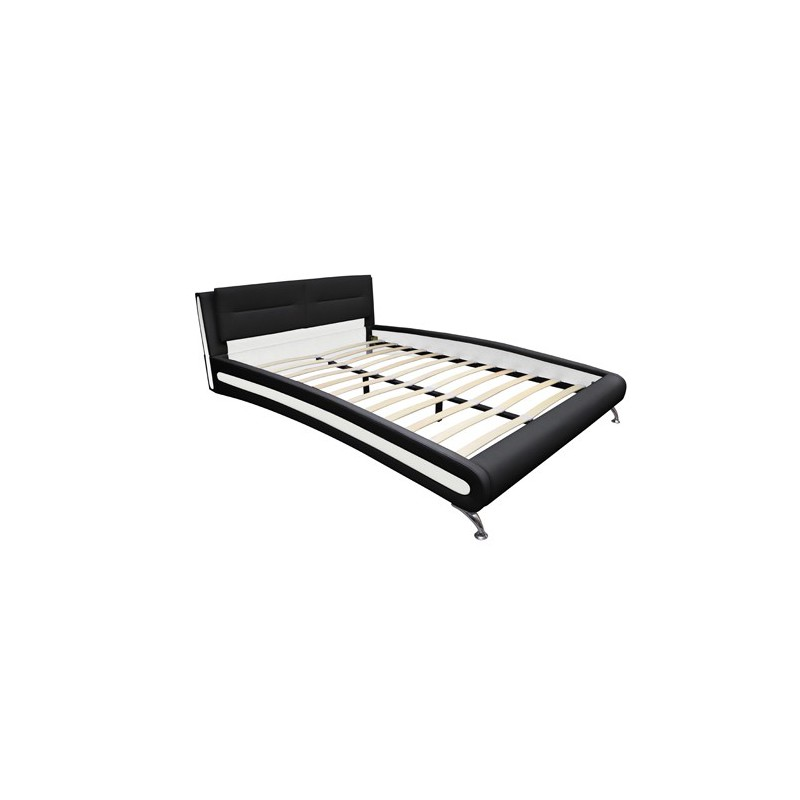 lit 180x200 cm noir et blanc avec matelas. Black Bedroom Furniture Sets. Home Design Ideas
