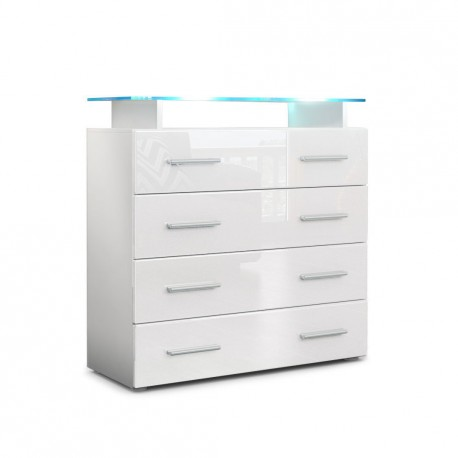 commode enti rement laqu e blanche avec led pour commodes armoire. Black Bedroom Furniture Sets. Home Design Ideas