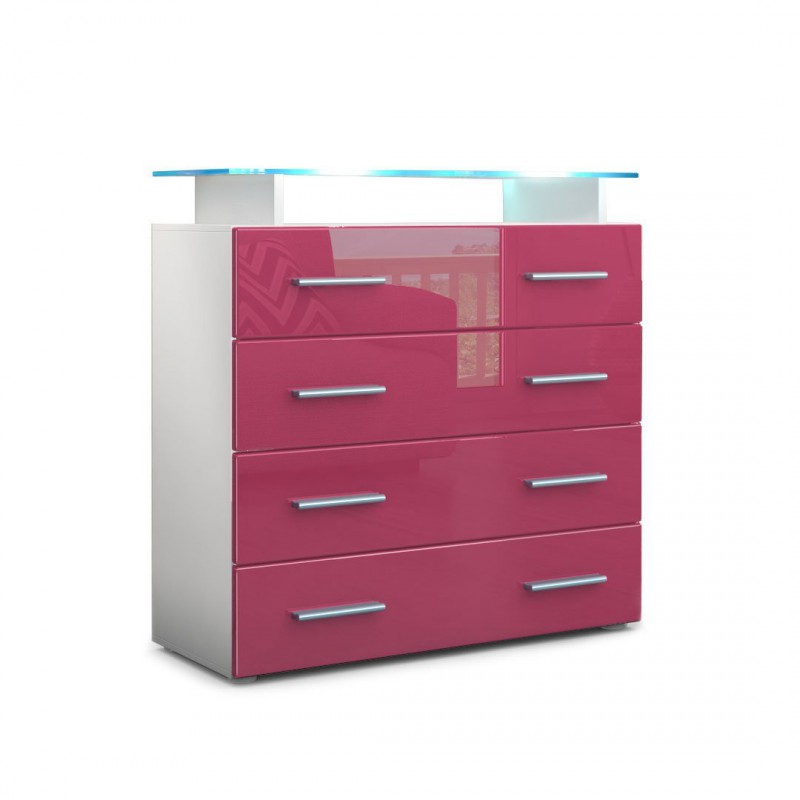 commode enti rement laqu e blanche et fuchsia avec led pour commode. Black Bedroom Furniture Sets. Home Design Ideas