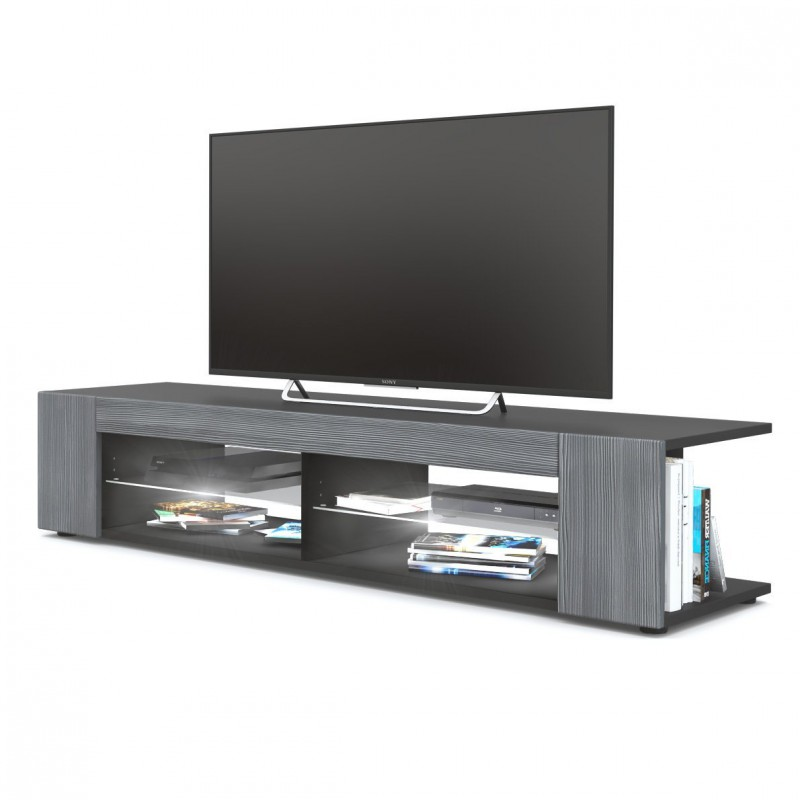 meuble tv corps noir mat fa ades en avola anthracite led blanc pour. Black Bedroom Furniture Sets. Home Design Ideas