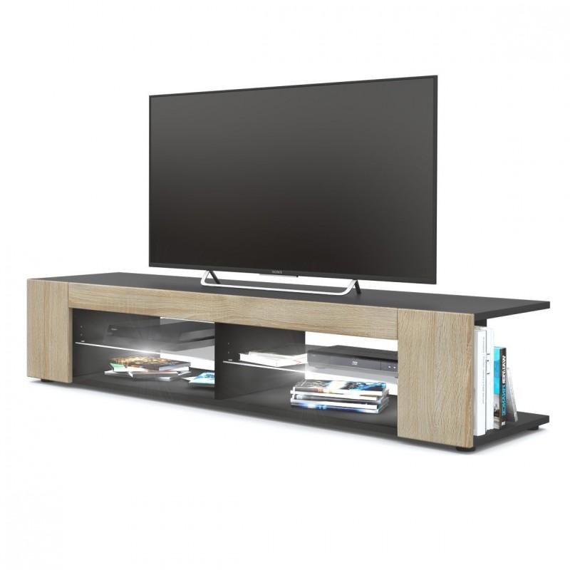 meuble tv noir mat fa ades en ch ne brut mdf led blanc pour meuble. Black Bedroom Furniture Sets. Home Design Ideas