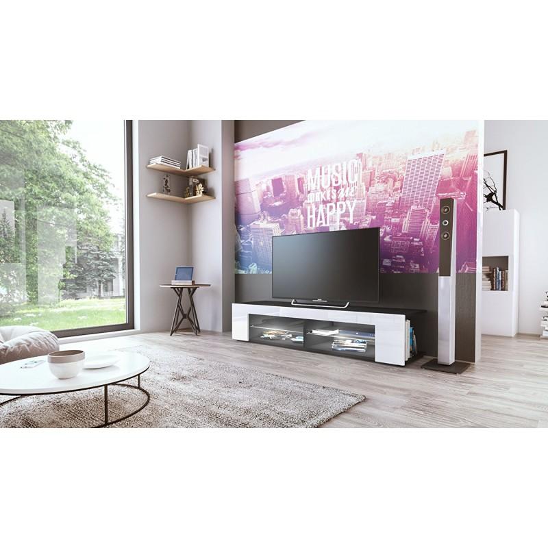 meuble tv noir mat fa ades en blanc laqu es led blanc pas. Black Bedroom Furniture Sets. Home Design Ideas