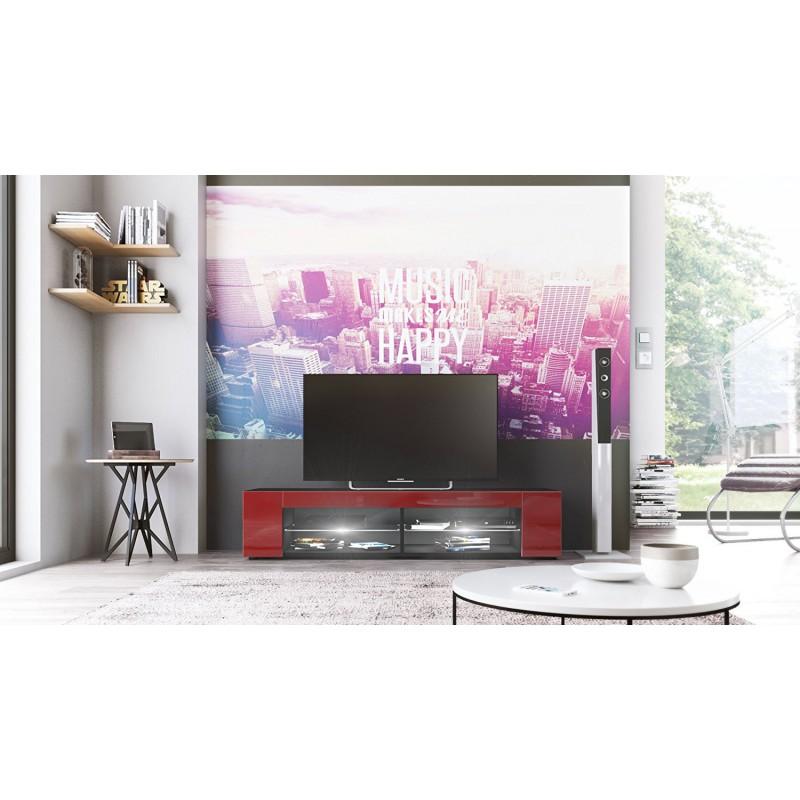 Meuble tv noir mat fa ades en bordeaux laqu es led blanc pas cher meubles pas cher meubles tv - Meuble tv noir mat ...