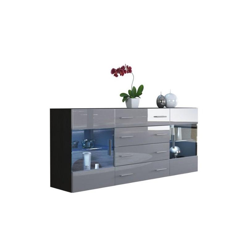 buffet design noir mat et gris laqu avec led pour buffets design. Black Bedroom Furniture Sets. Home Design Ideas