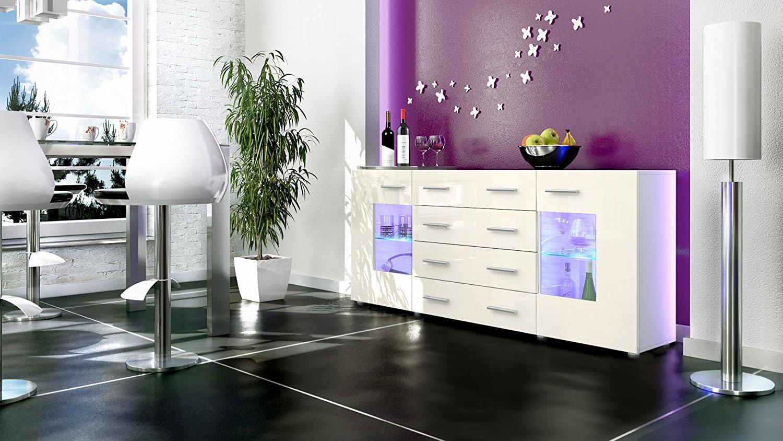 Buffet design blanc mat et cr me laqu avec led 166 cm for Meuble avec miroir pour se maquiller