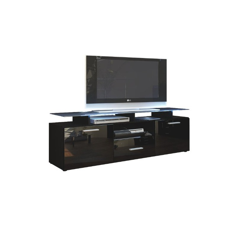 meuble tv noir mat fa ade laqu e avec led 146 cm pour meubles tv d. Black Bedroom Furniture Sets. Home Design Ideas
