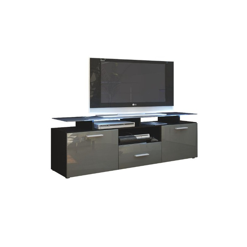 meuble tv noir mat et gris laqu avec led 146 cm pour meubles tv d. Black Bedroom Furniture Sets. Home Design Ideas