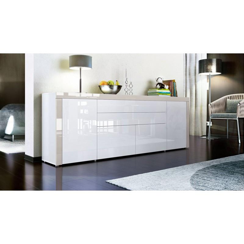 buffet blanc gris sable haute brillance 200 cm pour buffets desig. Black Bedroom Furniture Sets. Home Design Ideas