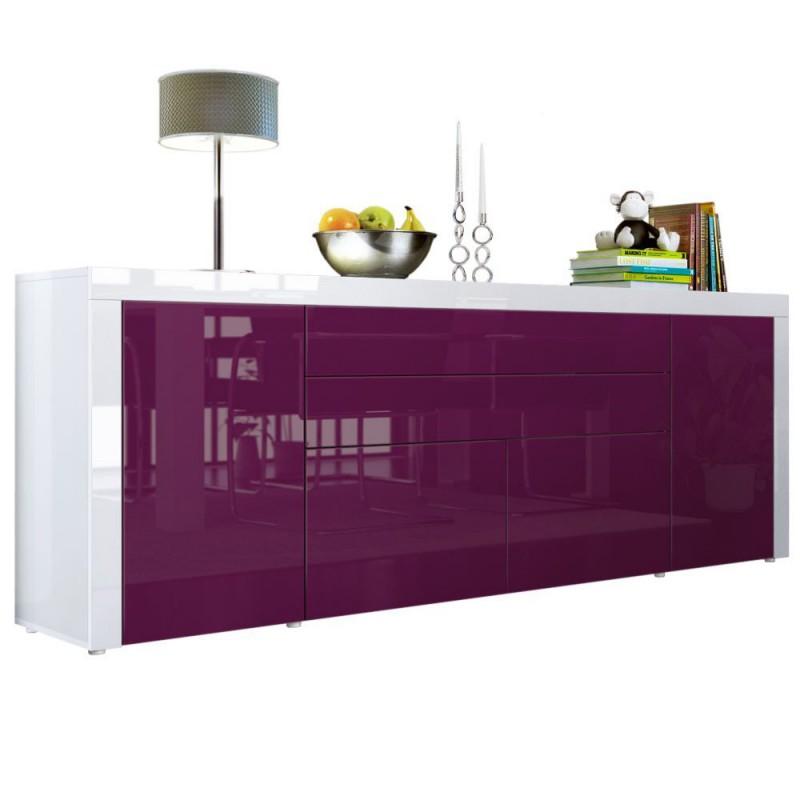 buffet m re blanc haute brillance 200 cm pour buffets. Black Bedroom Furniture Sets. Home Design Ideas