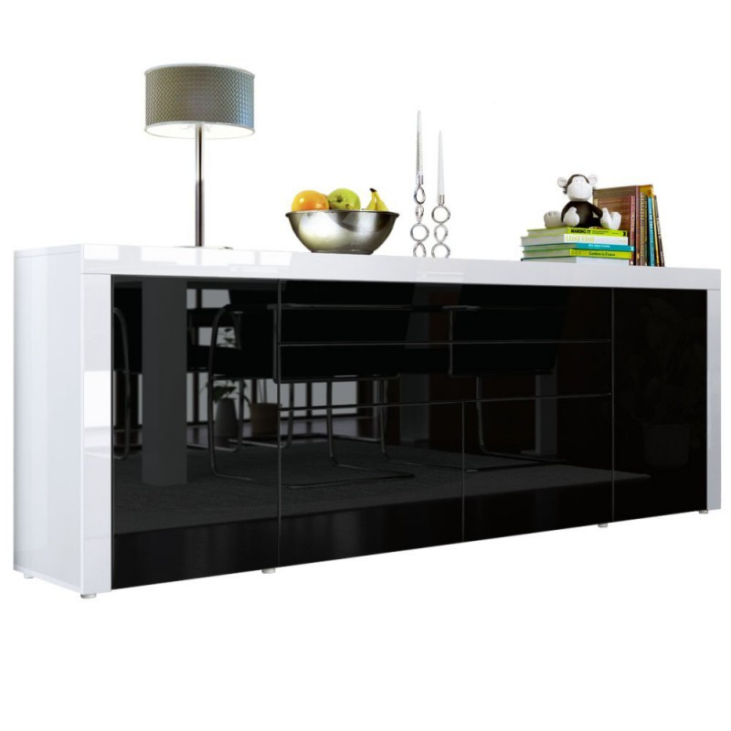 buffet noir blanc haute brillance 200 cm pour buffets design a 51. Black Bedroom Furniture Sets. Home Design Ideas