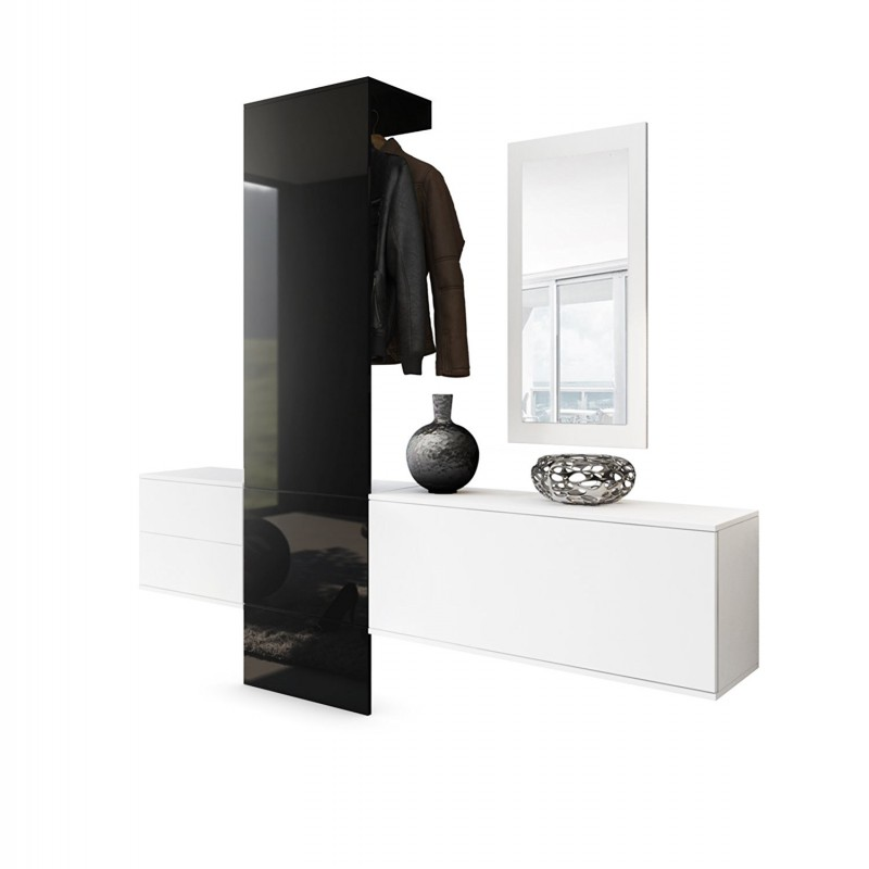 vestiaire blanc mat et noir laqu pour meubles d 39 entr e design a 5. Black Bedroom Furniture Sets. Home Design Ideas
