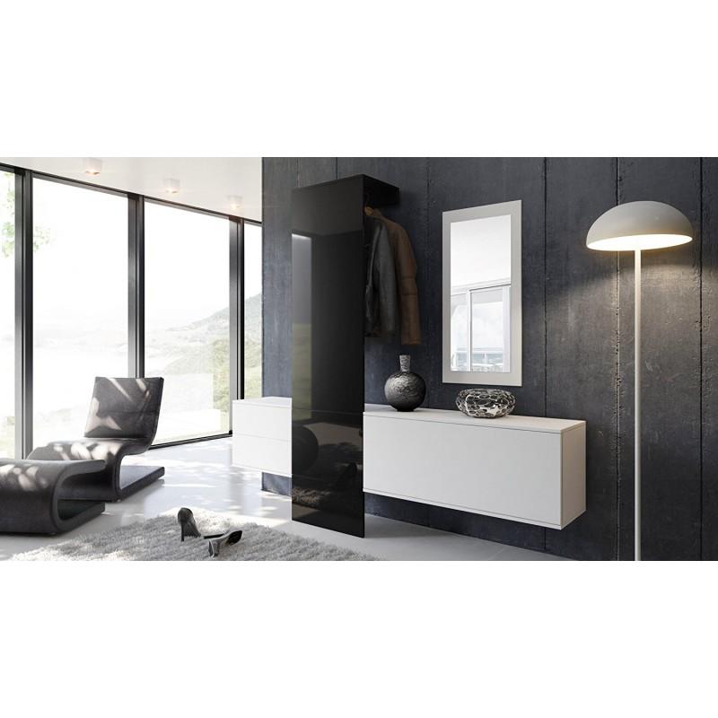 vestiaire blanc mat et noir laqu pour meubles d 39 entr e. Black Bedroom Furniture Sets. Home Design Ideas