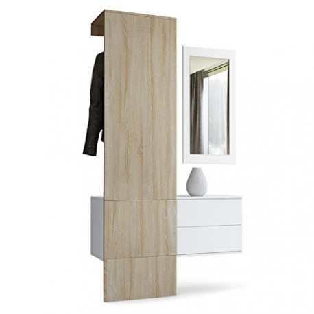 vestiaire blanc mat et panneau ch ne brut mdf pour meubles d 39 entr e. Black Bedroom Furniture Sets. Home Design Ideas