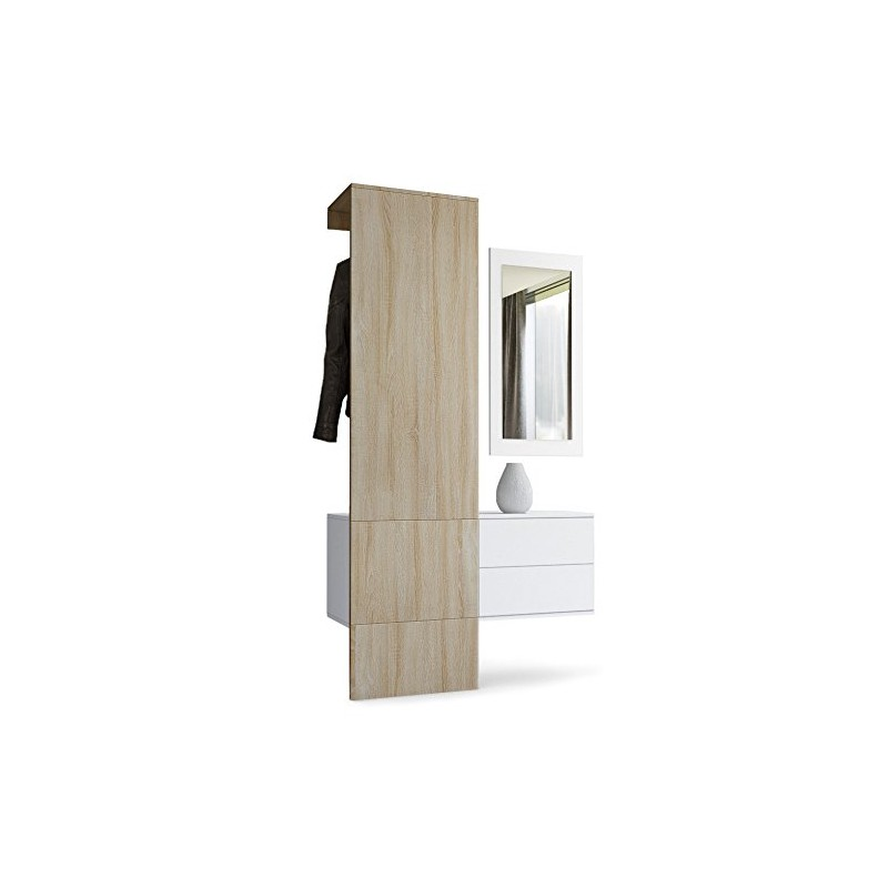vestiaire blanc mat et panneau ch ne brut mdf pour meubles. Black Bedroom Furniture Sets. Home Design Ideas