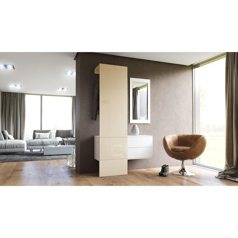 vestiaire blanc mat et panneau cr me laqu pour meubles d 39 entr e de. Black Bedroom Furniture Sets. Home Design Ideas