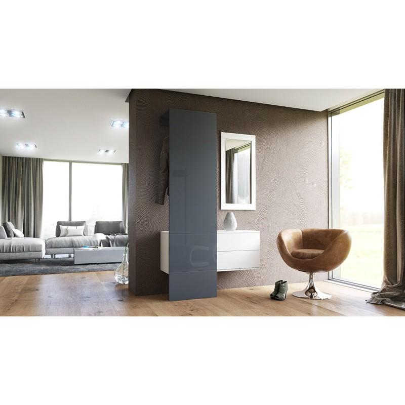 vestiaire blanc mat et panneau gris laqu pour meubles d 39 entr e des. Black Bedroom Furniture Sets. Home Design Ideas