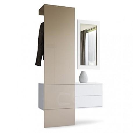 vestiaire blanc mat et panneau gris sable laqu pour meubles d 39 entr. Black Bedroom Furniture Sets. Home Design Ideas