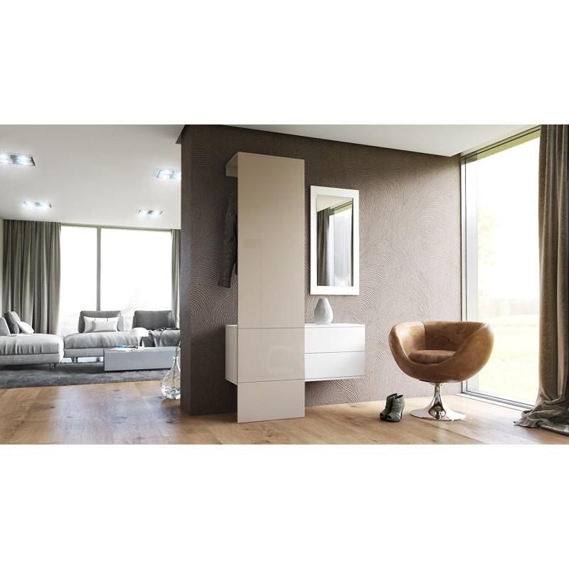 vestiaire blanc mat et panneau gris sable laqu pour. Black Bedroom Furniture Sets. Home Design Ideas