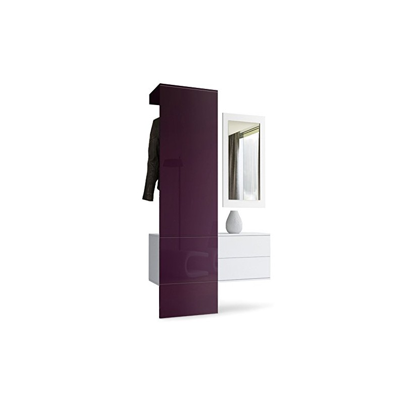 vestiaire blanc mat et panneau m re laqu pour meubles d 39 entr e des. Black Bedroom Furniture Sets. Home Design Ideas