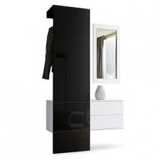 vestiaire blanc mat et panneau Noir laqué
