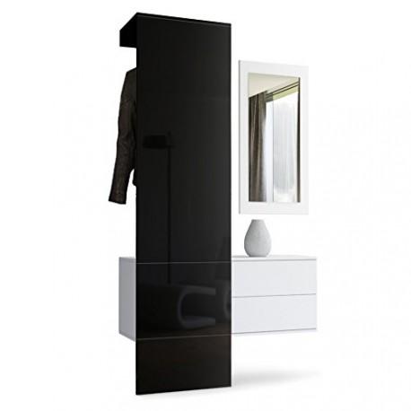 vestiaire blanc mat et panneau noir laqu pour meubles d. Black Bedroom Furniture Sets. Home Design Ideas