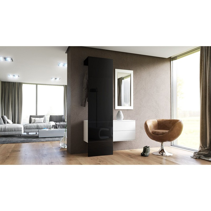 vestiaire blanc mat et panneau noir laqu pour meubles d. Black Bedroom Furniture Sets. Home Design Ideas