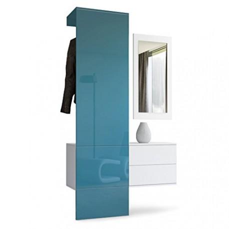 vestiaire blanc mat et panneau turquoise laqu pour meubles d 39 entr. Black Bedroom Furniture Sets. Home Design Ideas