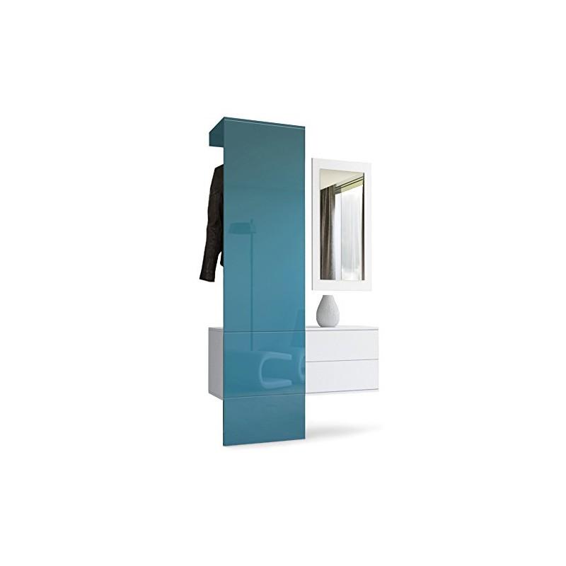 vestiaire blanc mat et panneau turquoise laqu pour. Black Bedroom Furniture Sets. Home Design Ideas