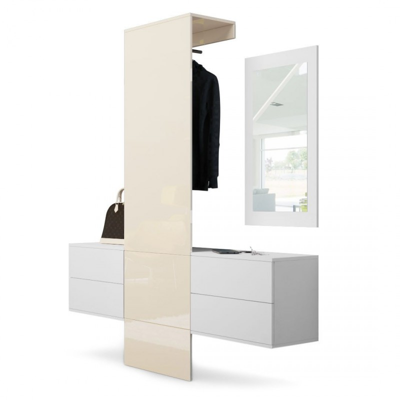 vestiaire blanc mat et portemanteau en cr me haute. Black Bedroom Furniture Sets. Home Design Ideas