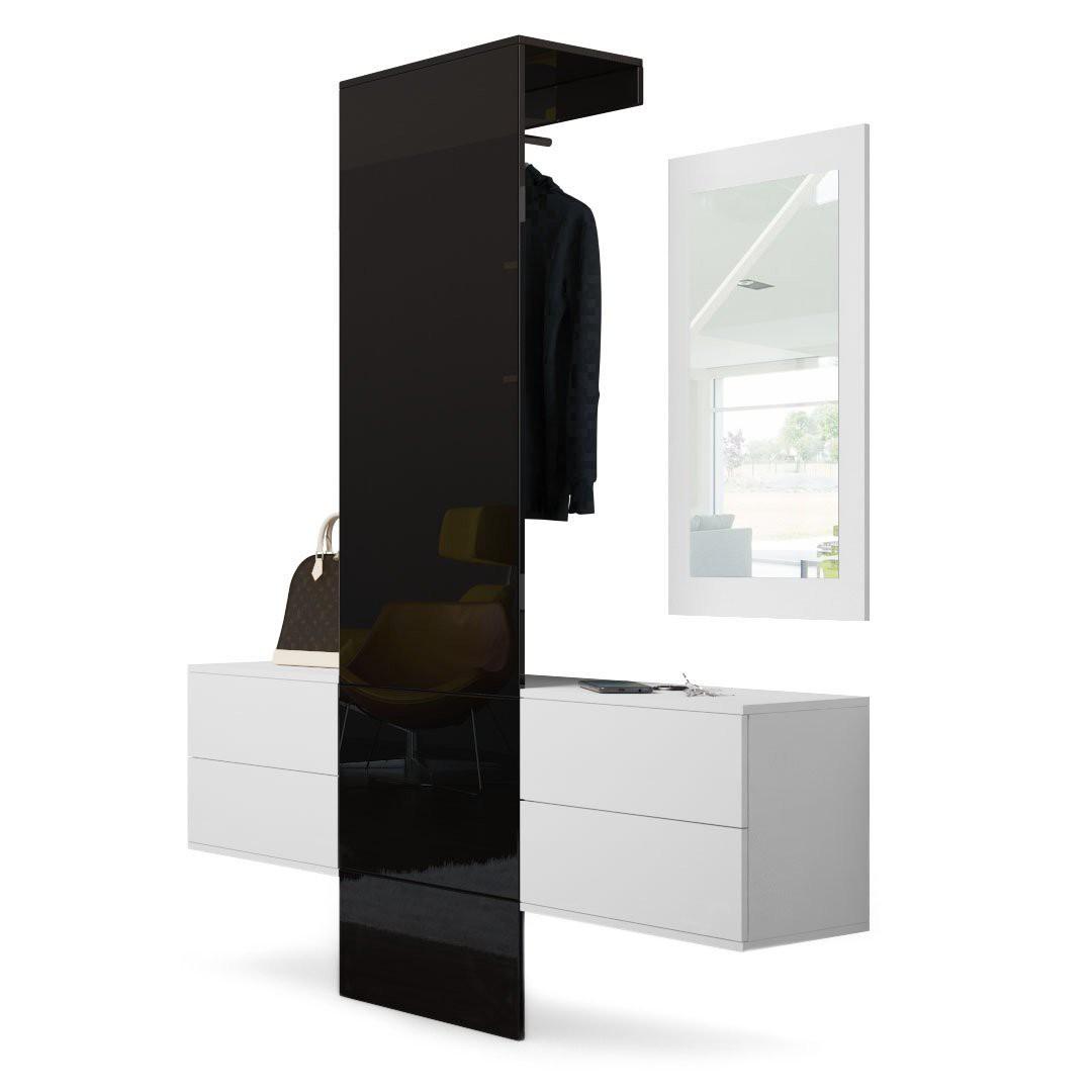 vestiaire blanc mat et portemanteau en noir haute brillance pour me. Black Bedroom Furniture Sets. Home Design Ideas