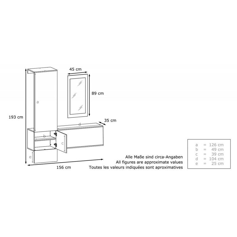 vestiaire blanc mat panneau noir laqu pour meubles d 39 entr e design. Black Bedroom Furniture Sets. Home Design Ideas