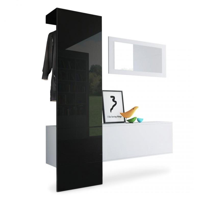 Vestiaire blanc mat panneau noir laqu pour meubles d 39 entr e design - Panneau blanc laque ...