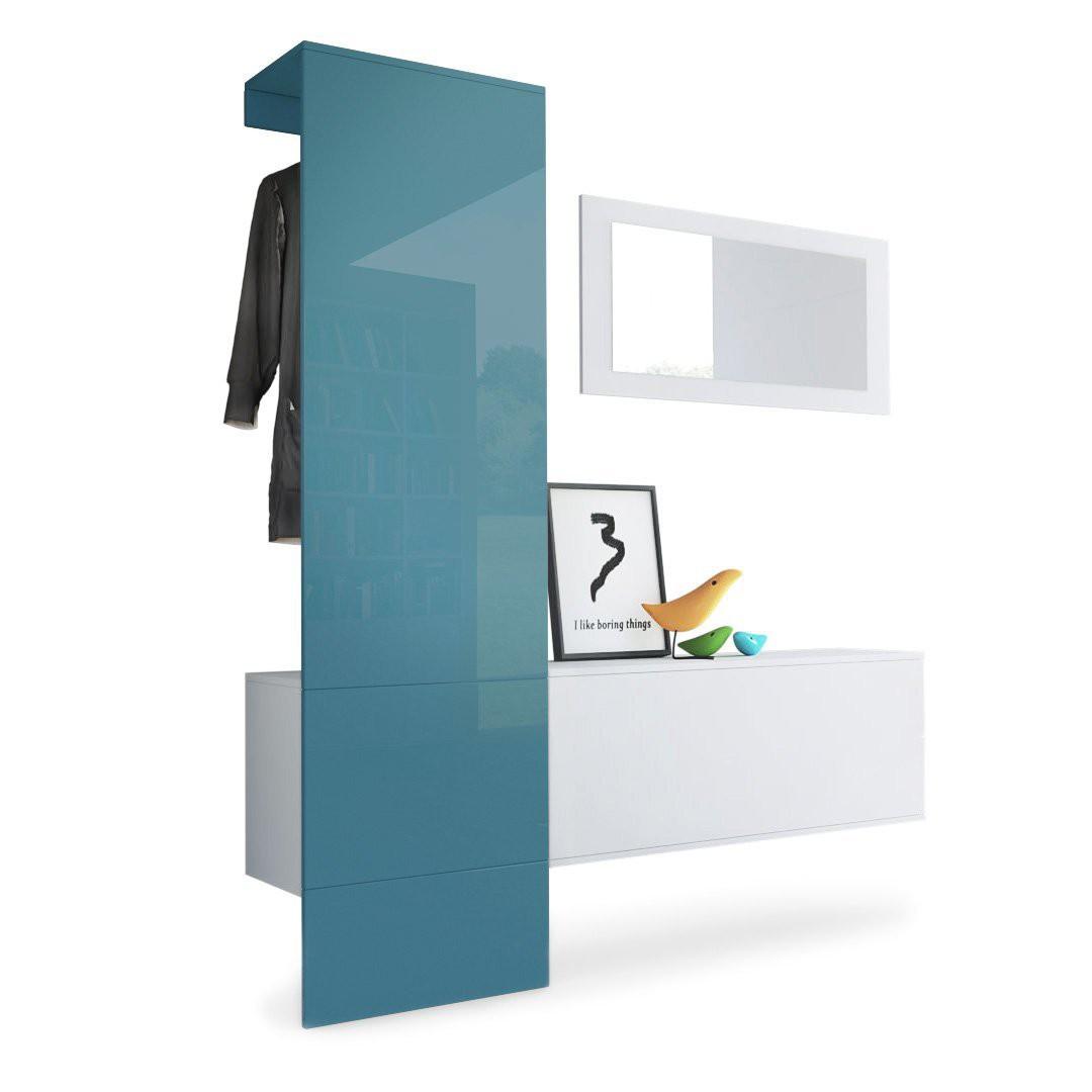 vestiaire blanc mat panneau turquoise laqu pour meubles d 39 entr e d. Black Bedroom Furniture Sets. Home Design Ideas