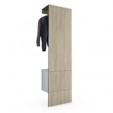 Porte manteaux blanc mat et Chêne brut en MDF