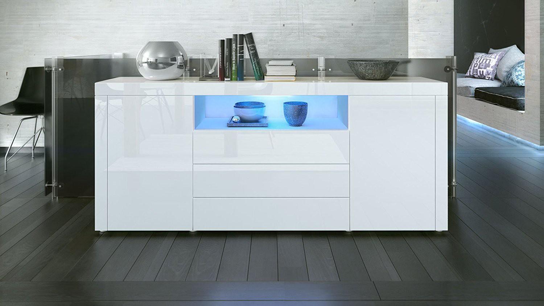 buffet laqu blanc avec clairage led 167 cm pour buffets design a. Black Bedroom Furniture Sets. Home Design Ideas
