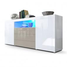 Buffet laqué blanc / Gris sable avec éclairage led 167 cm