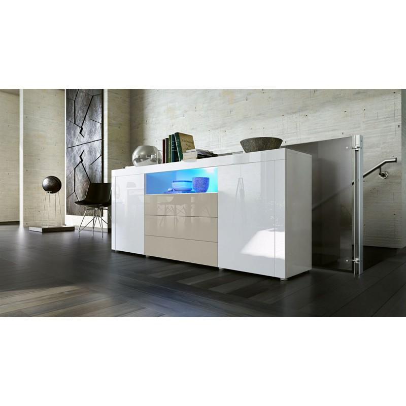 buffet laqu blanc gris sable avec clairage led 167 cm pour buff. Black Bedroom Furniture Sets. Home Design Ideas