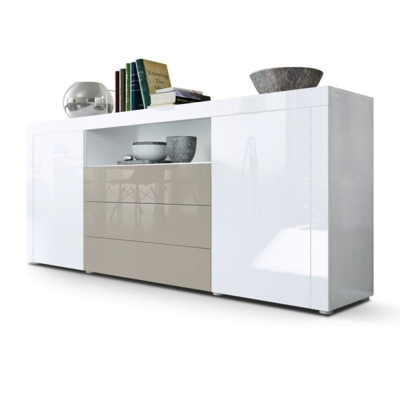 Buffet laqu blanc gris sable 167 cm pour buffets design - Buffet de salle a manger noir et gris laque 150 cm ...