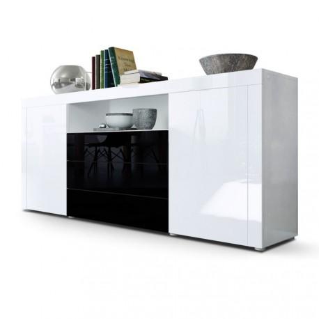 Buffet laqué blanc /Mûre sable 167 cm