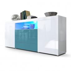 Buffet laqué blanc / Turquoise avec éclairage led 167 cm
