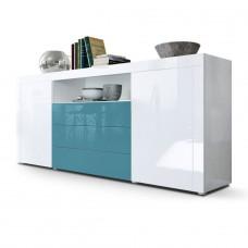 Buffet laqué blanc /Turquoise 167 cm