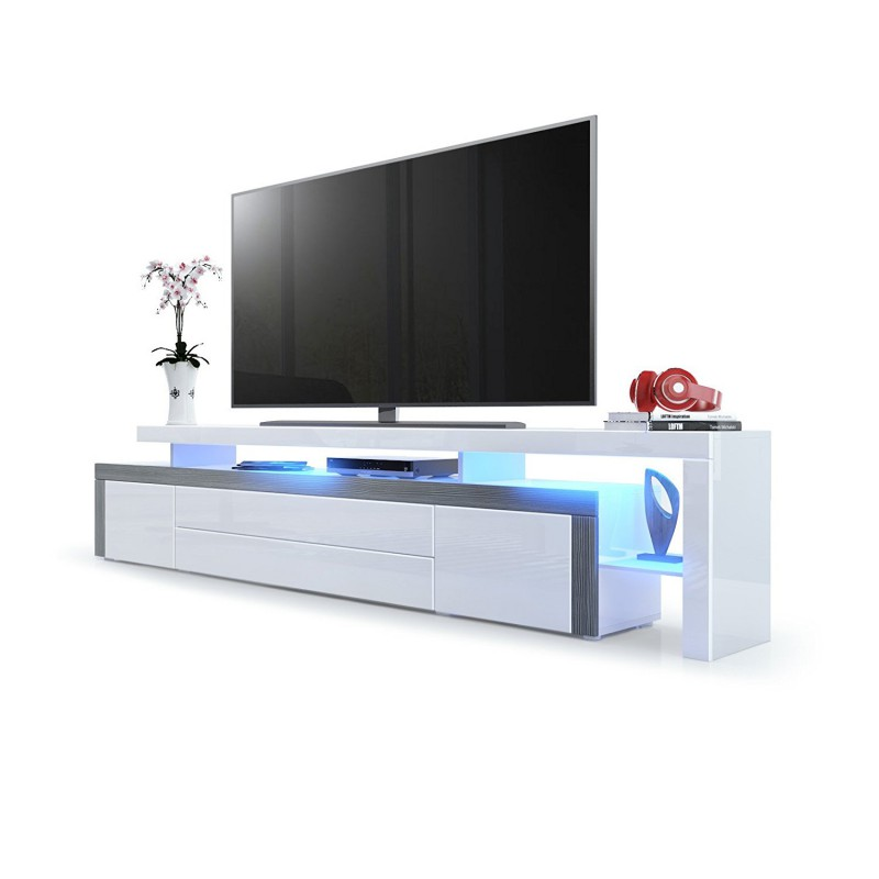 Meuble tv avola anthracite blanc laqu 227 cm avec led for Meuble tv tres fin